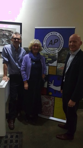 Stuart Evans, Gwenllian Ashley and  Rhodri Morgan at the opening of the AP Christmas Show