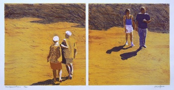 Oliver Bevan (UK) Two Generations Stone Lithograph 290mm x 600mm