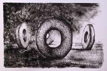 Malcolm Franklin (UK) Untitled Stone Lithograph 250mm x 380mm