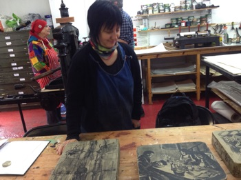 Linda Davies Stone Lithography Class at  The Gas Studio